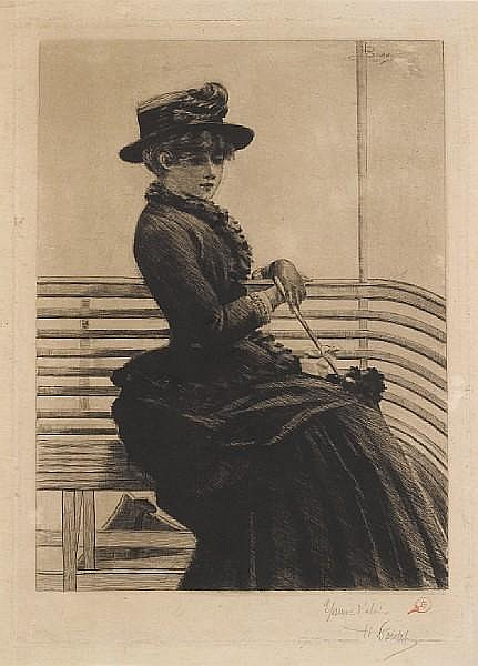 Henri Boutet (French, 1851-1919) Woman Seated on a Boat Drypoint, circa 1883, on imitation japan, signed and annotated