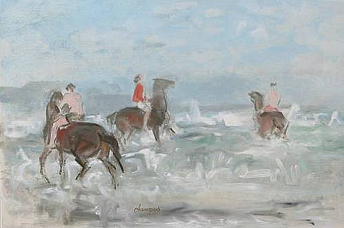 Edmund Blampied (Jersey, 1886-1966) 'On Holiday', three horses and their riders amidst the surf, signed, signed and inscribed on the reverse, oil on board, 49.2 x 74.6cm.