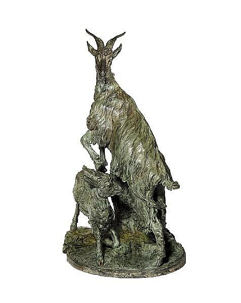 Giovita Lombardi, Italian (1837-1876) A life-size green patinated bronze group of a goat and kid