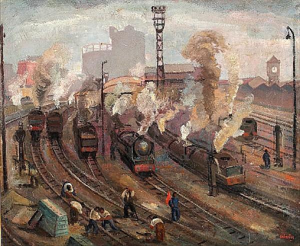 Rufino 'Cebal' Ceballos (Spanish, 1907-1970) A busy train terminal