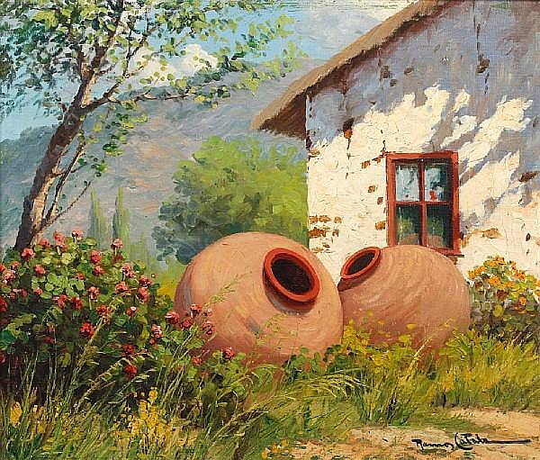 Ramos Catalan (Chilean, born 1890) Terracotta jars before a whitewashed ranch house