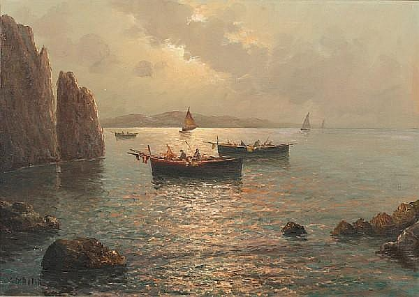 Vincenzo D'Auria (Italian, 1872-1939) Fishing boats off the coast at Capri
