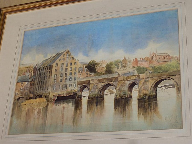 Mark Cook (1868 - circa 1934) The Old Dee Bridge and the hydro electric power station