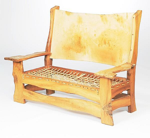 Tim Stead MBE (1952-2000) A bespoke elm and fruitwood settle designed and executed late 1980s