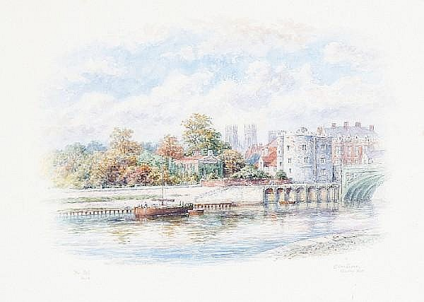 George Fall (British, born circa 1848-1925) A set of five views of York two 24.5 x 33cm (9 5/8 x 13in), three 33 x 24.5cm (13 x 9 5/8in).(5)