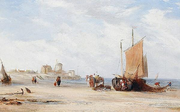 Circle of Edward F. D. Pritchard (British, 1809-1905) Beach scene with fisherfolk and boats