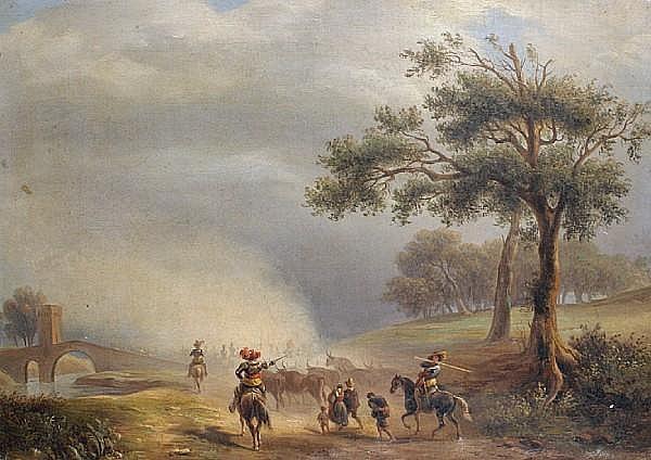 Attributed to Massimo d' Azeglio (Italian, 1798-1866) Crossing the bridge