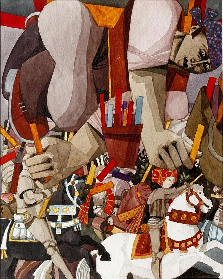 George Large, RI, RBA (British, born 1936) Pavement artist