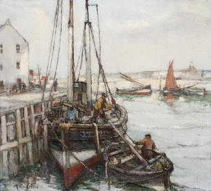 Arthur MacDonald-(British, active 1897-1940)-Unloading the boats