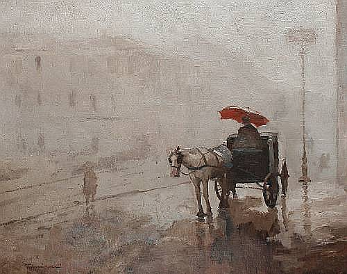 Giuseppe Amisani (Italian, 1881-1941) A coach and horse on a rainy day