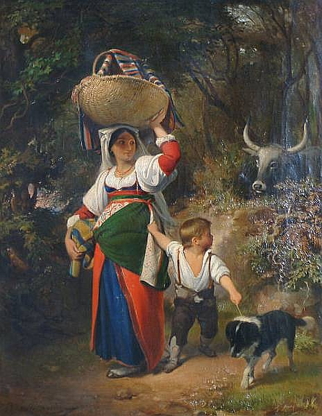 Augusto Bompiani (Italian, 1851-1930) A forest walk