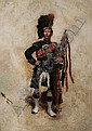 Edouard Jean Baptiste Detaille (French, 1848-1912) Scottish soldier with bagpipes