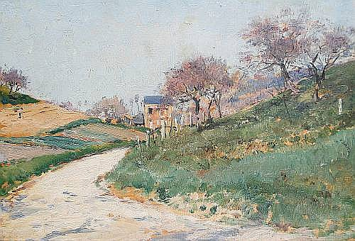 Heinrich Neppel (German, 1874-1936) A figure on a country lane with an extensive landscape beyond