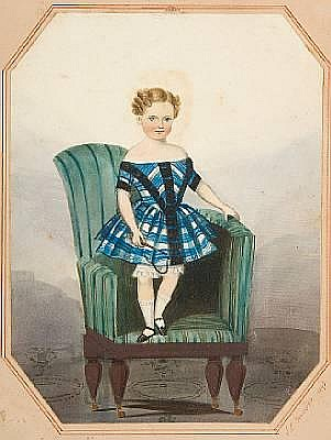John E. Bosanquet (Irish, active circa 1854-1869) Portrait of a young boy standing on a chair, signed on the mount, dated 1849