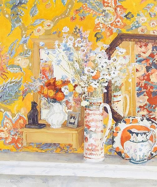 Geraldine Girvan (British, born 1947) Mirror and flowers