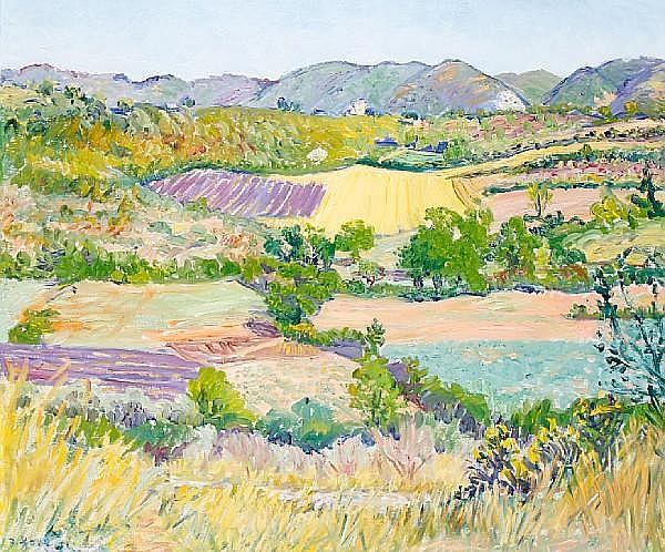 Frederick Gore C.B.E, R.A (British, born 1913) Lavender field in the Luberon
