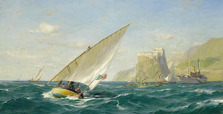 John Fraser (British, 1858-1927) Sparkling waters off the Italian Riviera