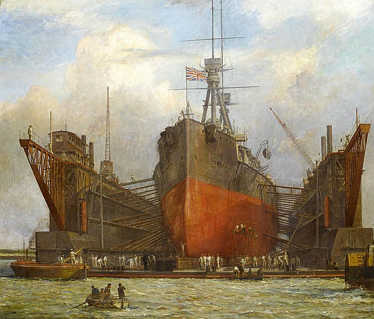 Bernard Finegan Gribble R.B.C. (British, 1873-1962) Dreadnought Class Battleship in a floating dry dock, Portsmouth