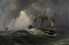 Charles Henry Seaforth (British, 1801-died after 1859) Ships of the Imperial Russian Navy in stormy seas