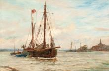 Charles William Wyllie, RBA (British, 1859-1923) Princess Roma making sail off a small harbour