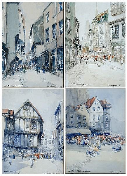 Victor Noble Rainbird (1888-1936) Four street scenes, to include,