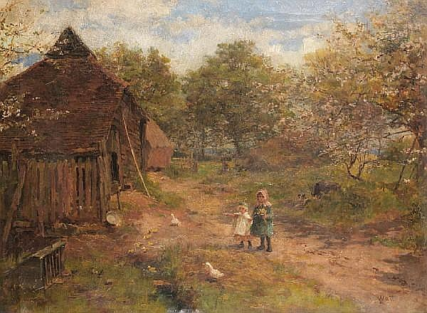 Linnie Watt A Rare Oil on Canvas with Children, circa 1875