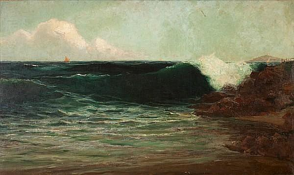 Vassilios Hatzis (Greek, 1870-1915) Breaking wave 77 x 127 cm.