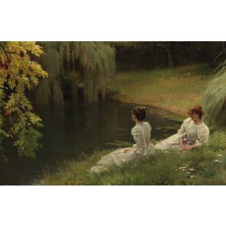 Louis Emile Adan (French 1839-1937) Elegant ladies at rest beside a pond signed 'Emile Adan' (lower right), oil on canvas 78 x 122 cm. (30 3/4 x 48 in.)
