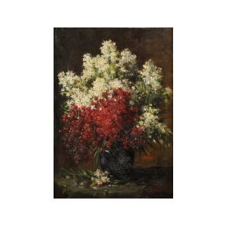 Hubert Bellis (Belgian 1831-1902) Vase de fleurs signed 'H.Bellis' (lower right), oil on canvas 80 x 56.5 cm. (31 1/2 x 22 1/4 in.)