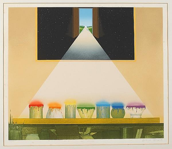 Antonio Peticov (Brazilian, born 1946) The Studio signed, dated '83 and inscribed in pencil, numbered 77/195 Colour screen print 58.5 x 68cm.