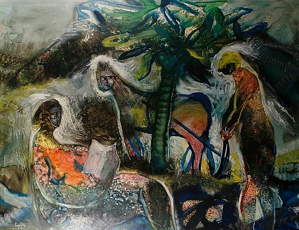 Juan Ripolles (Spanish, born 1932) Figures and cat in a landscape
