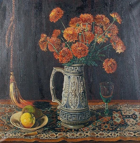 John Edward Barker (British, 1889-1953) Still life with vase of chrysanthemums on a patterned rug