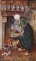 Henricus Mattheus Horrix (Dutch, 1845-1923) 'Woman with cooking pot' 22.5 x 14.5cm, Hendrikus Matheus Horrix, Click for value