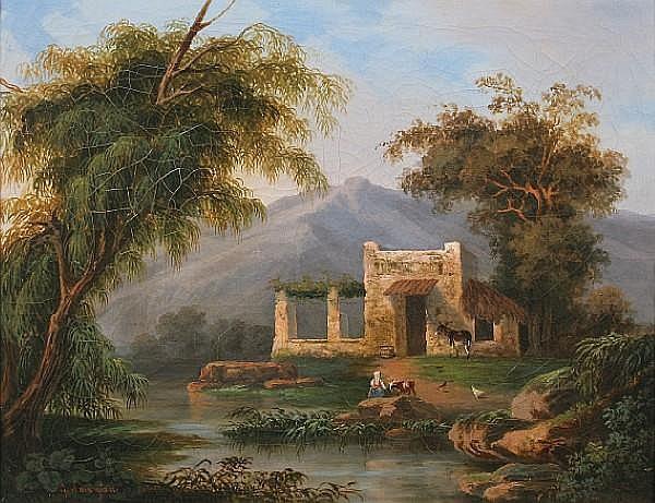 Follower of Gabriele Smargiassi (Italian, 1798-1882) A rustic dwelling 36.5 x 46cm.