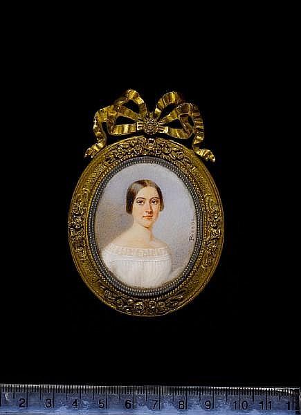 Gabriel Aristide Passot (French, 1797-1875) A Lady, wearing white dress, her brown hair worn à la Madonna