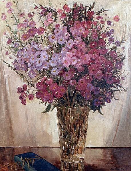 John Wheatley (British, 1892-1955) Purple flowers in a vase
