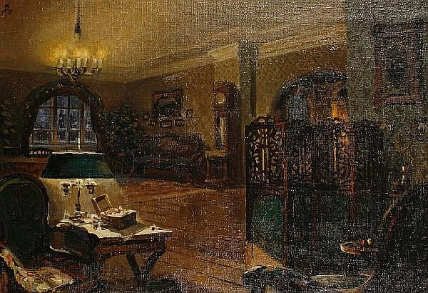 Stalev Nikandrovich Volkov (Russian, born 1925) The flat of Gana Ivolgin - set design for film The Idiot
