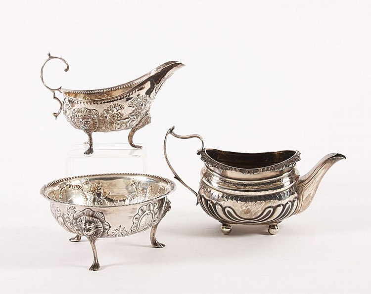 A late Victorian Irish silver sugar bowl and matching cream jug By John Smith or James Smythe, Dublin, 1894, (3)