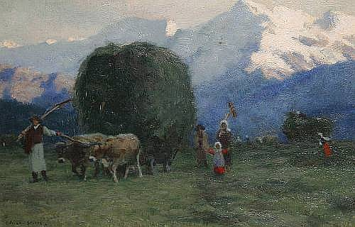 Adrian Stokes (British, 1854-1935) Haymaking in the Tyrol