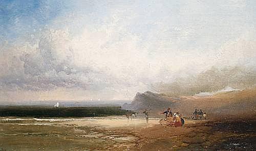 Joseph Horlor (British, 1809-1887) Figures on a beach, a pair each 20.5 x 34.5cm (8 1/16 x 13 9/16in). (2)