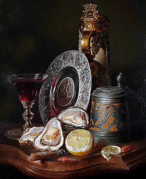 Josef Schuster (Austrian, 1812-1890) Still life with oysters, prawns, lemons, steins, a goblet and a charger