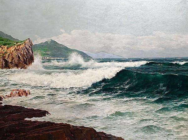 Juan Martinez Abades (Spanish, 1862-1920) Coastal landscape