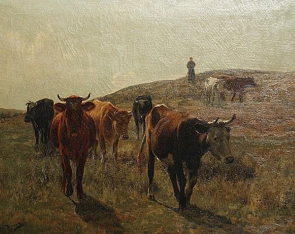 Emile van Damme-Sylva (Belgian, 1853-1935) Cattle in a landscape