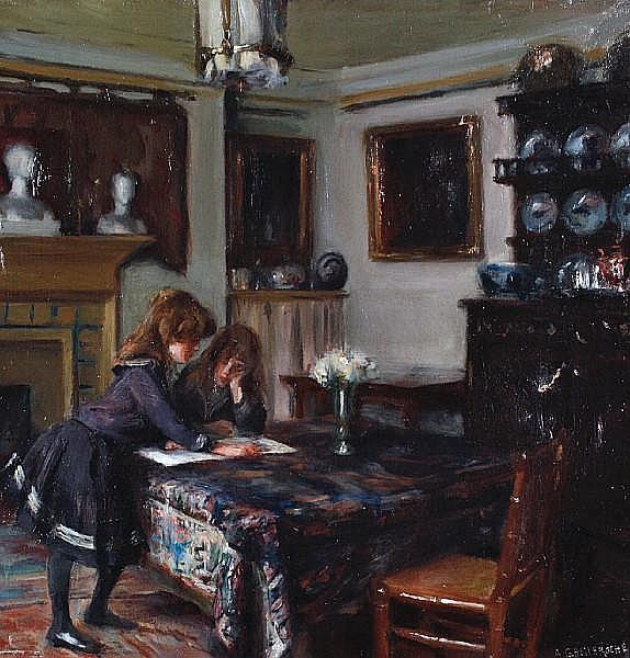 Albert de Belleroche (British, 1864-1944) Edward Boit's daughters in his studio