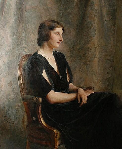 William Carter (British, 1863-1939) Portrait of Lady Winifred Tryon, seated
