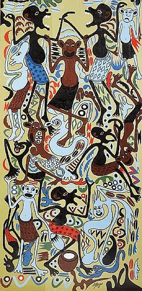 Georges Lilanga di Nyama (Tanzanian, 1934-2005) Untitled, 1993 unframed