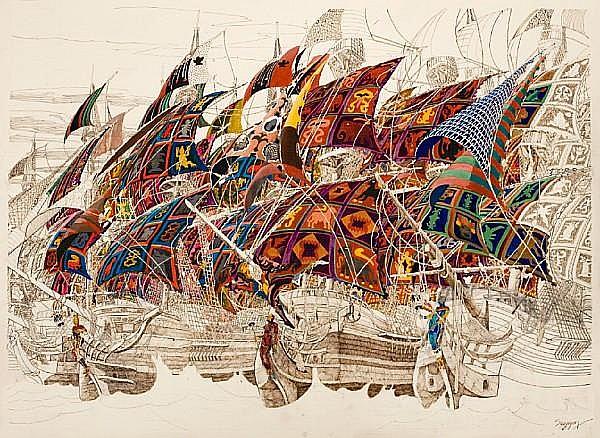 Julien Sinzogan (Beninese, born 1957) Departure and Return of Spirits, a pair 70 x 100cm (27 9/16 x 39 3/8in) each