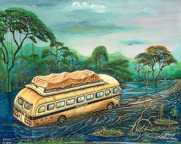 Richard Onyango (Kenyan, born 1960) Kangalika Bus on broken road unframed