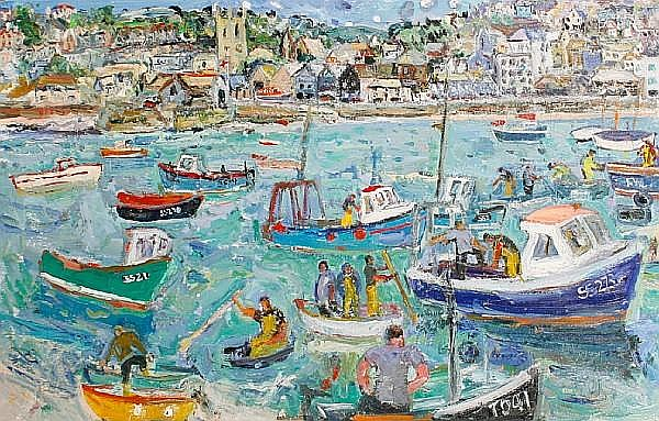 Linda Weir (British, born 1951) 'Summer Storm Approaching Lifeboat Launched, St Ives'