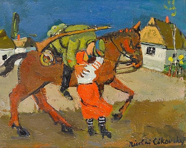 Nicolai Cikovsky (Russian, 1894-1987) The Cossacks' farewell